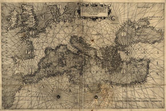 Старинная карта Европы от Антонио Лафрери (1572)