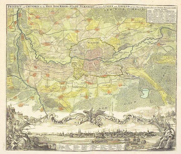 Старинный план-карта города Нюрнберг (1725)