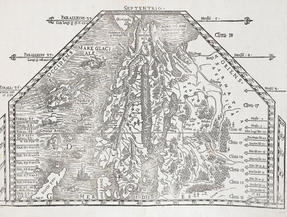 Старинная карта Скандинавии (1567)