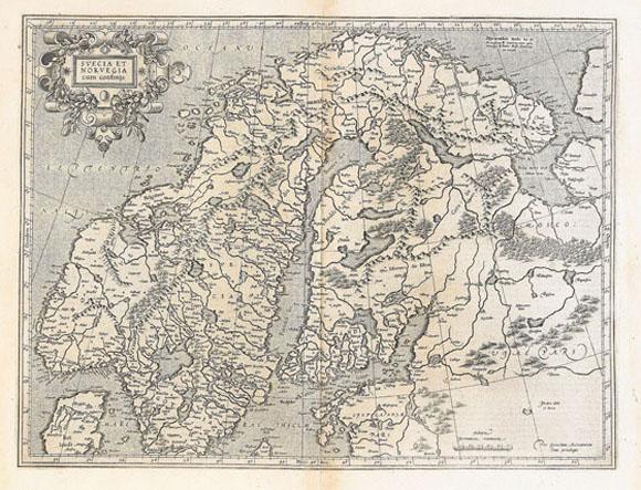 Старая карта Северной Европы (1595)