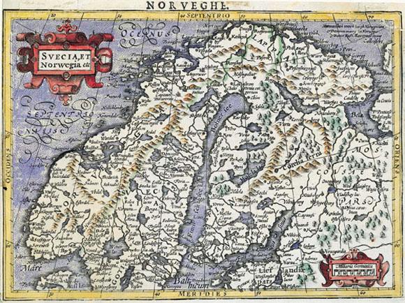 Древняя карта Скандинавии (1607)