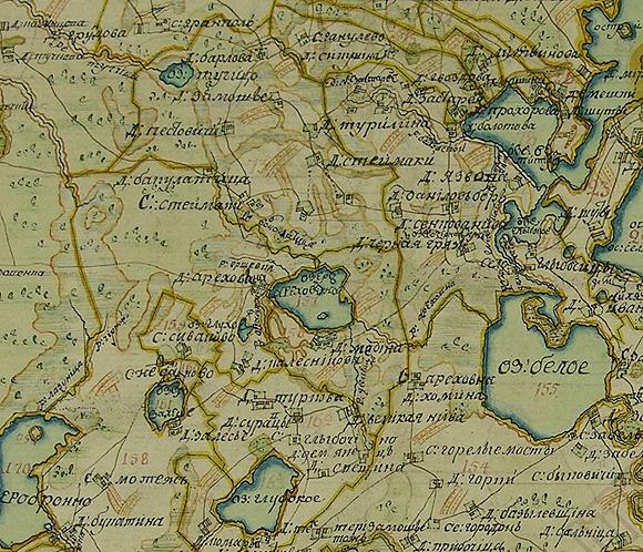 административная карта 1870 года себежский уезд витебской губернии сне маленьких волнистых